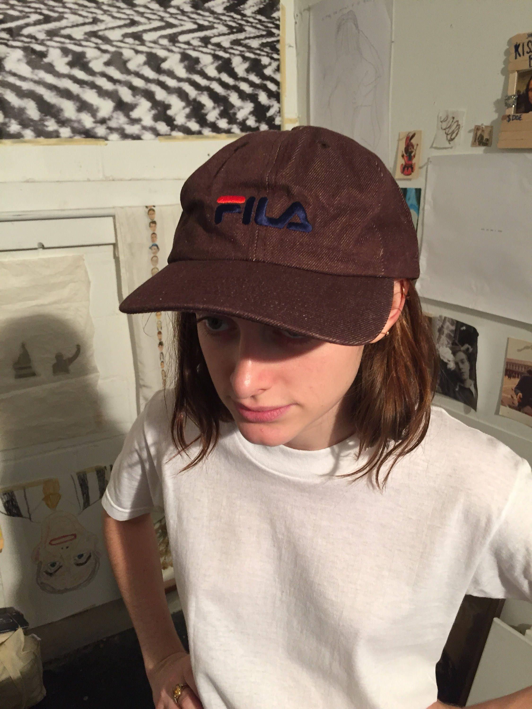 c5e7552797f vintage Fila hat   brown denim Fila cap   Fila snapback   Fila