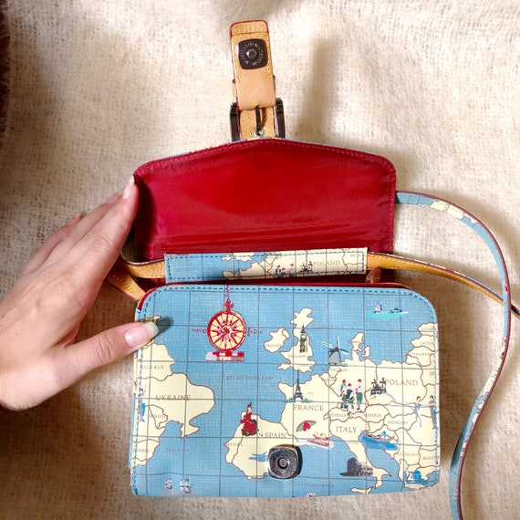 vintage travel globe print crossbody bag / map de… - image 8