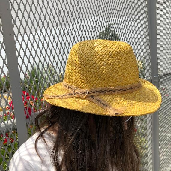 vintage fedora hat / raffia straw fedora / yellow… - image 2