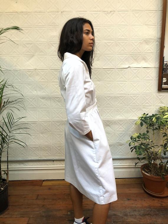 vintage 80s white dress / minimalist white shirt … - image 4