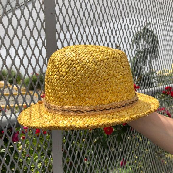 vintage fedora hat / raffia straw fedora / yellow… - image 5