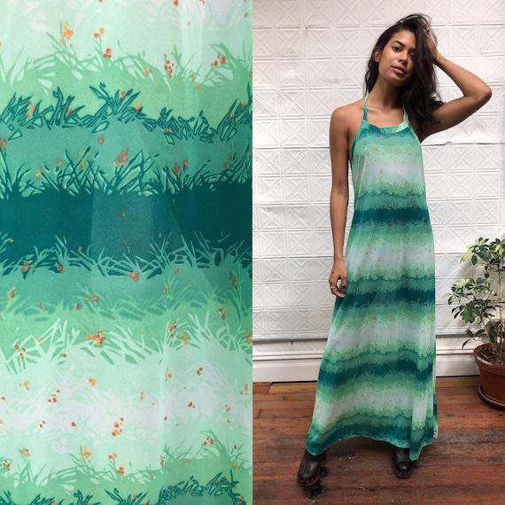 vintage Huk a poo halter maxi dress / green floral
