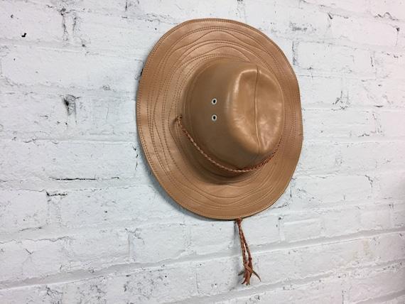 81602c88a7b42 vintage leather safari hat   leather fedora   winter hat