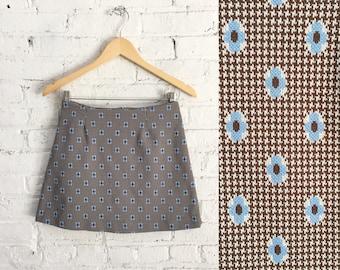 vintage 90s mod mini skirt / stretchy floral short skirt / 1990s does 60s flower power go go skirt