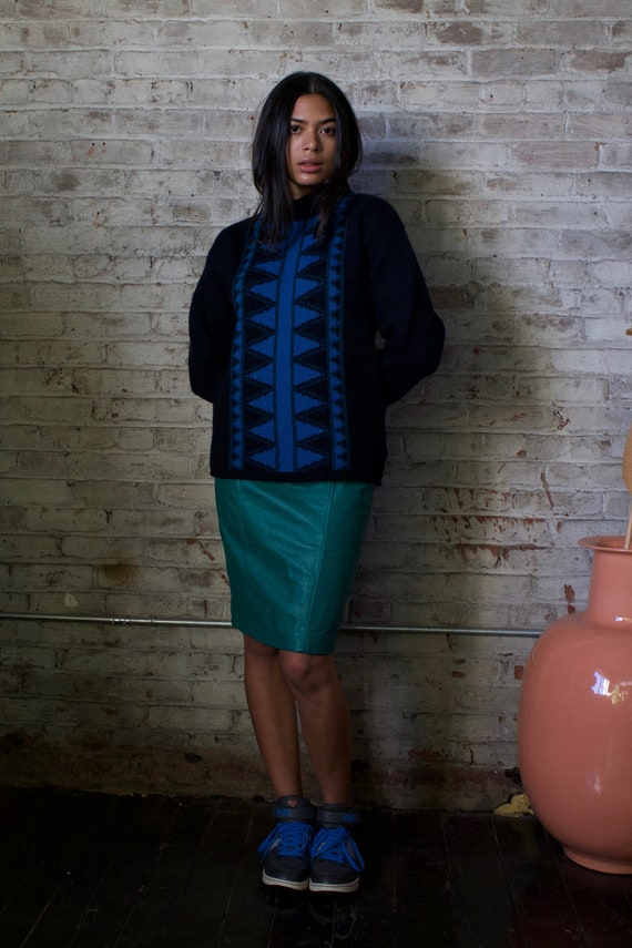 1980s Chia leather pencil skirt / 80s teal fitted