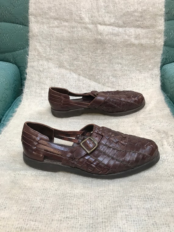 vintage mens huarache sandal / brown woven leathe… - image 4