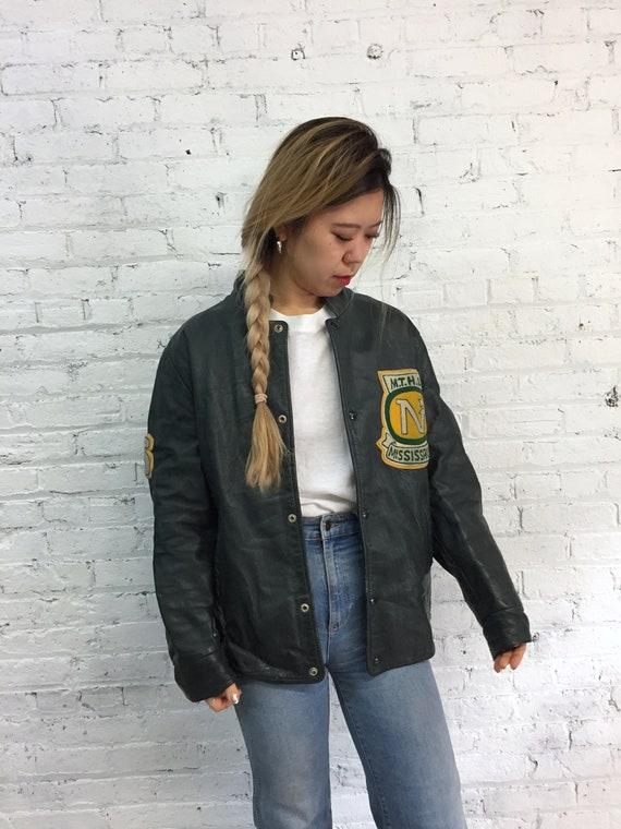 vintage 70s black leather varsity jacket with café