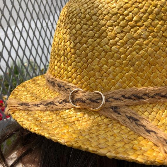 vintage fedora hat / raffia straw fedora / yellow… - image 3