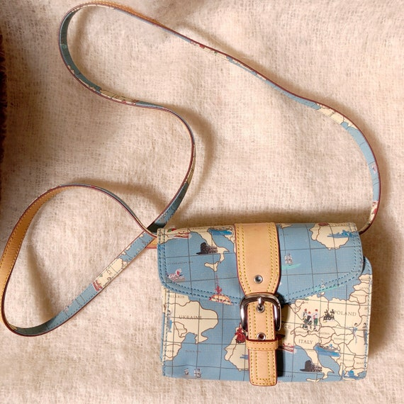 vintage travel globe print crossbody bag / map de… - image 1