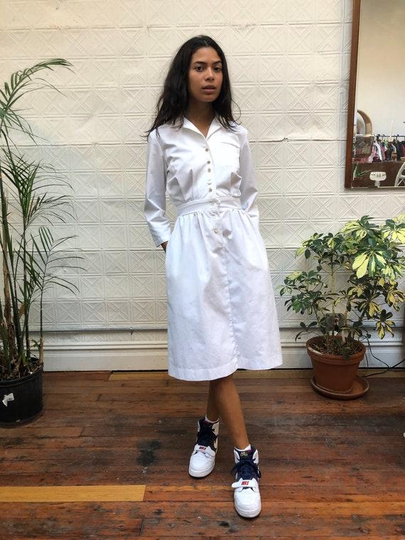 vintage 80s white dress / minimalist white shirt d