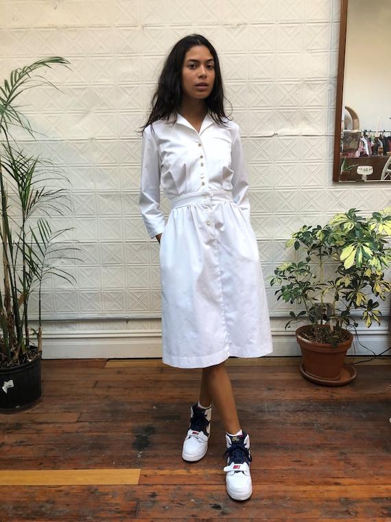 vintage 80s white dress / minimalist white shirt … - image 1