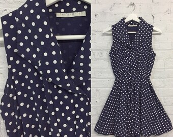 vintage The Limited polka dot day dress / casual navy blue day dress / 1950s inspired fit and flare dress