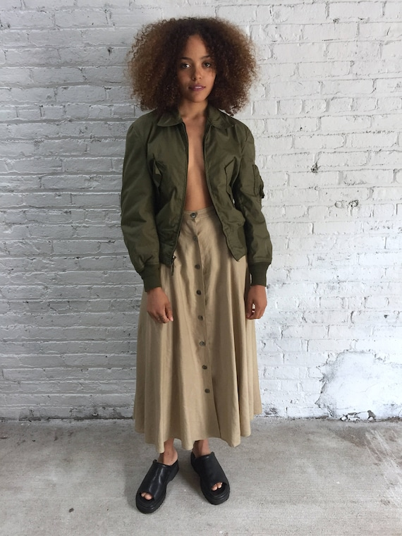 vintage army green military bomber jacket / nomex