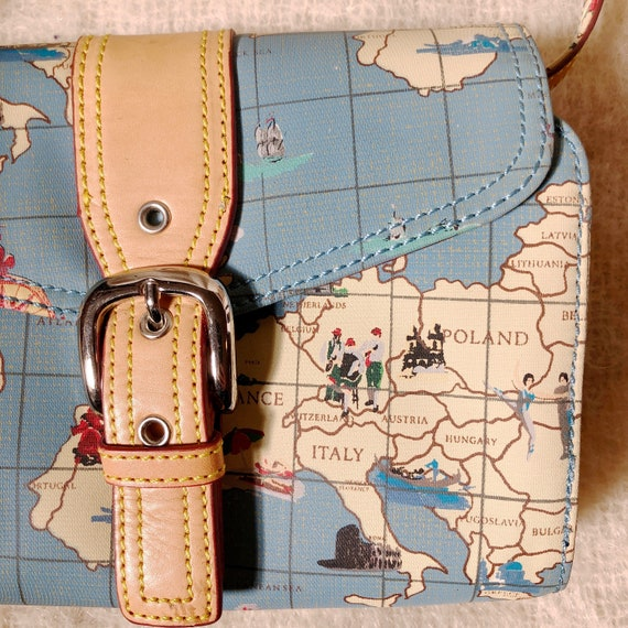 vintage travel globe print crossbody bag / map de… - image 3