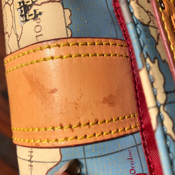vintage travel globe print crossbody bag / map de… - image 10