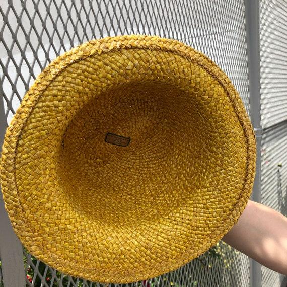 vintage fedora hat / raffia straw fedora / yellow… - image 8