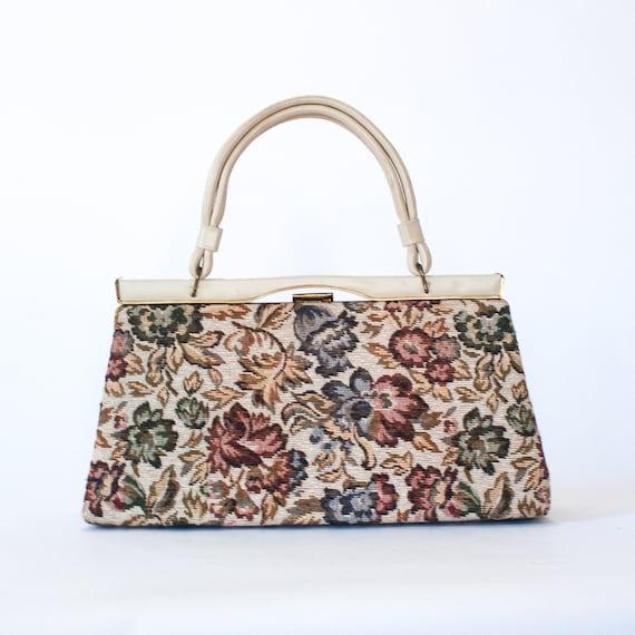 vintage cream floral tapestry handbag / 50s 60s t… - image 5