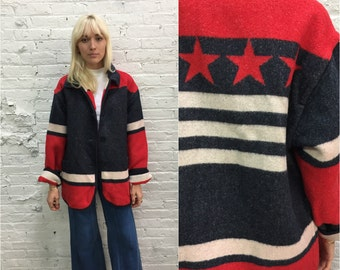 red white and blue american flag wool coat / the Limited oversize chunky wool jacket