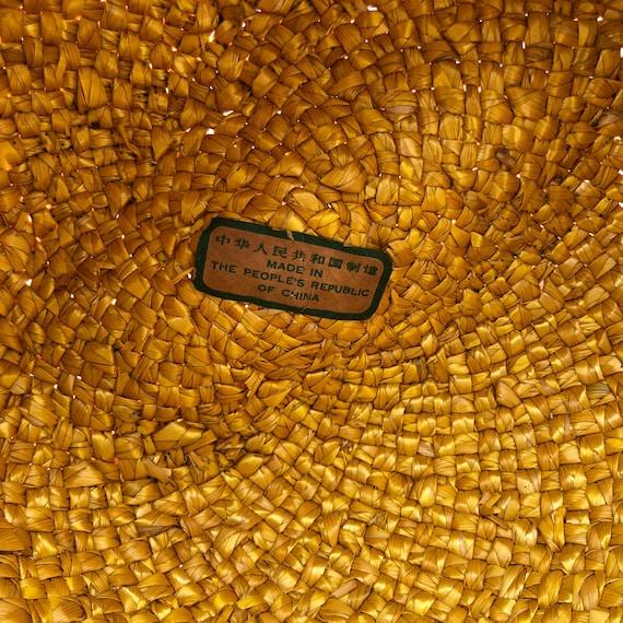 vintage fedora hat / raffia straw fedora / yellow… - image 9