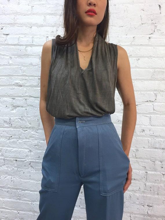 vintage silk tank top / Jane Mayle gray halter tan