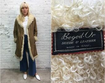 vintage Beged-Or Mongolian lamb leather coat / Penny Lane coat / tan shearling coat
