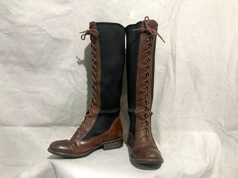 f330218ede4 Vintage knee high lace up riding boots   leather embossed