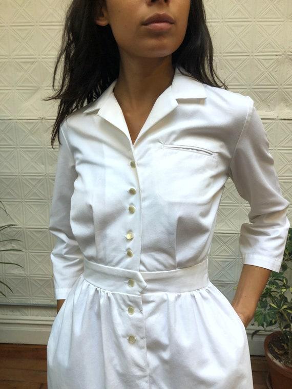vintage 80s white dress / minimalist white shirt … - image 3