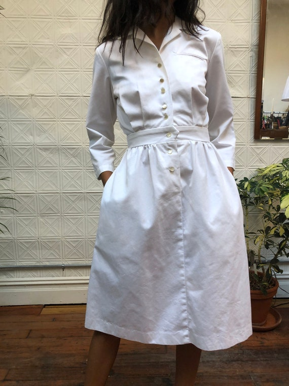 vintage 80s white dress / minimalist white shirt … - image 2