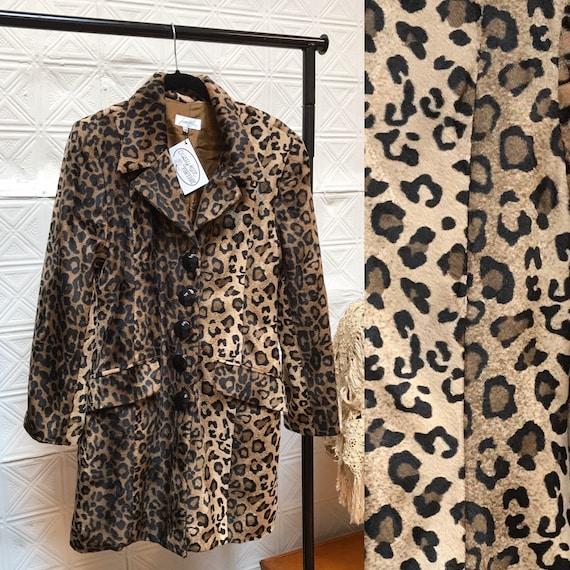 90s leopard print faux fur coat / vintage leopard