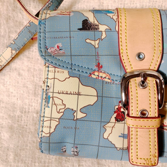 vintage travel globe print crossbody bag / map de… - image 2