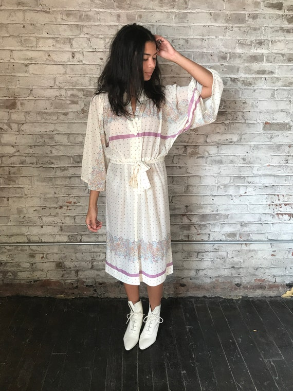 1970s cream ditsy floral prairie dress / 70s cali… - image 2
