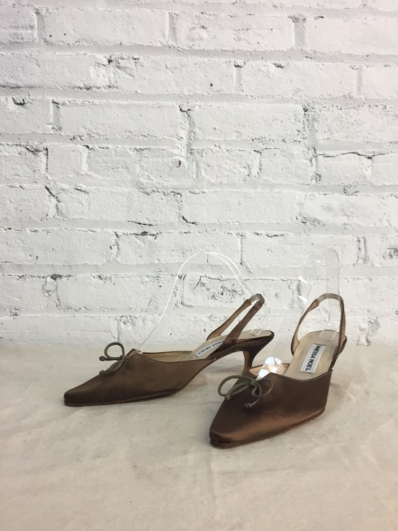 eb6bce6191c68 vintage 90s brown satin slingback kitten heels / formal special occasion  silk pointed toe bow heels