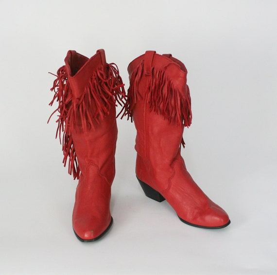 vintage red leather western boots / fringe boots /