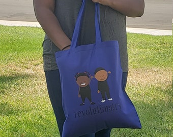 LOViE Beans - Revolutionary Tote - Black Lives Matter (BLM), Fun carryall, book bag, market tote, blue - Black Owned Shop