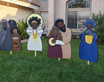 Black Nativity Set, Yard Decorations (Sets) - Wooden, Handcrafted from a Black Owned Shop