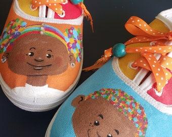 LOViE Beans hand painted, women's canvas sneaker size 10