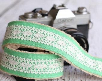 Camera Strap - Green Linen Lace. dSLR Camera Strap. Camera Neck Strap. Digital Camera Strap. Padded Camera Strap.