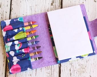 Hot Air Balloon Crayon Wallet. Rainbow Crayon Wallet. Crayon Roll. Child Birthday Gift. Travel Toy. Art Wallet. Drawing Kit. Crayon Caddy.