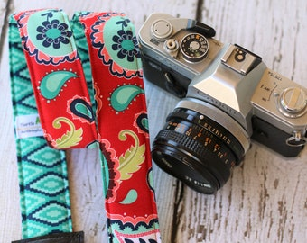 Reversible Camera Strap - Aztec Paisley.  Camera Strap. dSLR Camera Strap. Custom Camera Strap. Camera Neck Strap. Monogrammed Camera Strap.