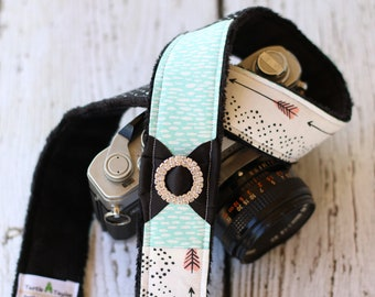 Camera Strap -Aqua Arrow. dSLR Camera Strap. Custom Camera Strap.  Camera Accessories. Camera Neck Strap.  Digital Camera Strap.