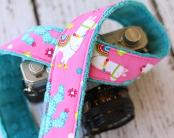 dSLR Camera Strap - Llama and Cactus.  Camera Strap. Custom Camera Strap. Camera Neck Strap. Camera Strap for Canon. Gift for Her.