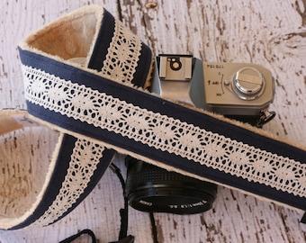 Camera Strap.  Cute Camera Strap.  dSLR Camera Strap.  Linen and Lace Camera Strap.  Padded Camera Strap.  Digital Camera Strap.