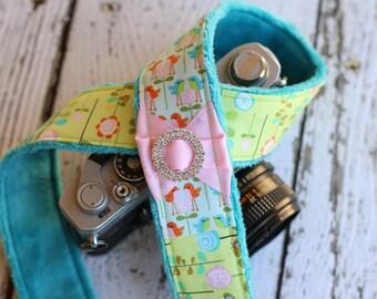 dSLR Camera Strap. Patchwork Camera Strap. Minky Camera Strap. Camera Strap Compatible with Canon or Nikon - Birds and Flowers