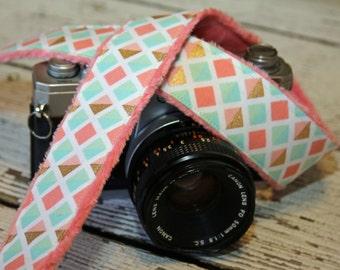Camera Strap - Pastel Geometric. dSLR Camera Strap. Camera Neck Strap. Monogram Camera Strap.  Padded Camera Strap.