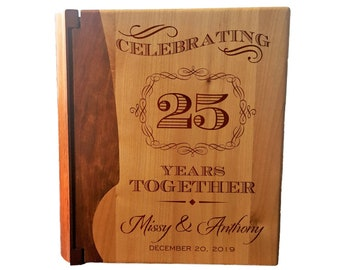 Style 99 Custom Engraved Wedding Album Maple /& Walnut Cover LoveToCreateStamps Personalized Wood Cover Photo Album