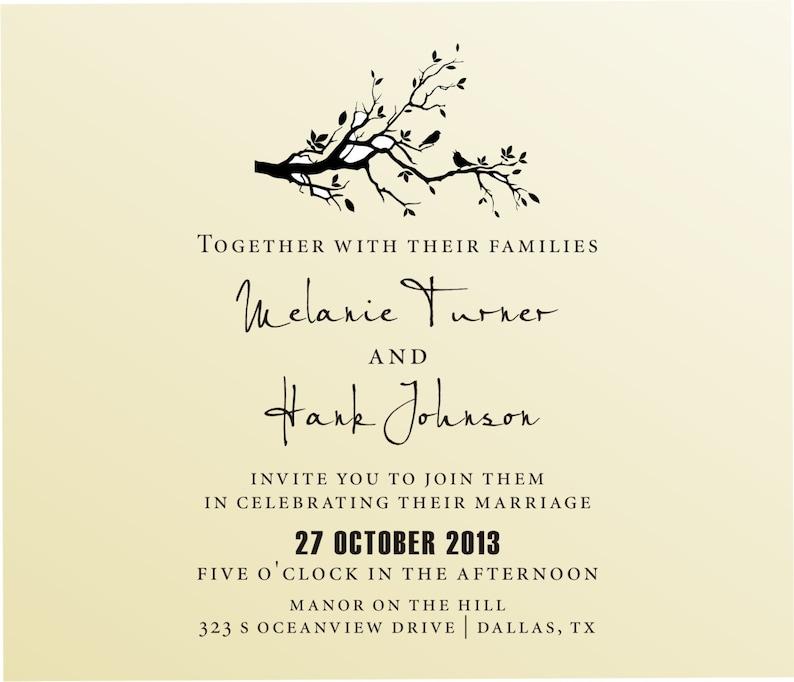DIY Wedding invitation bird in love design modern font rubber stamp clear  block mounted -style 6006INVITATION - custom wedding stationary