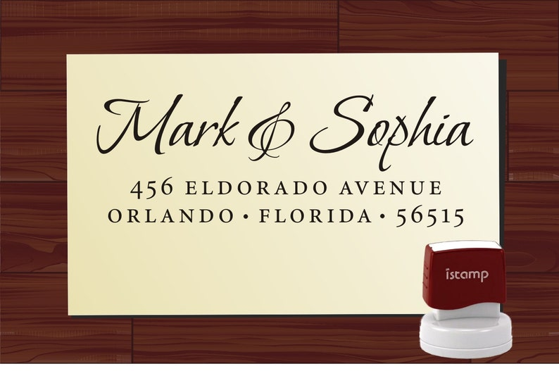 Calligraphy Handwriting Script Custom Return Address Stamp Style 1172A Personalized SELF INKING Wedding Stationery Stamper