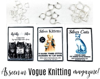 Cat stitch markers, small, med or large, or multi, knitting gift, As seen in Vogue Knitting!