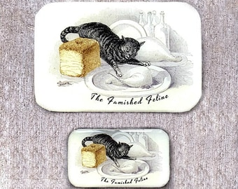 Famished cat tin LARGE, Notions tin, wallet