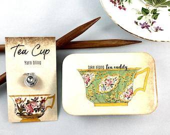 Tea Caddy and tea cup stitch marker